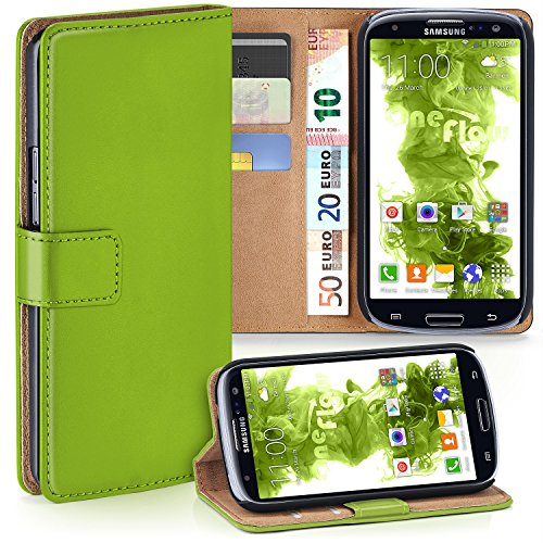 MoEx Samsung Galaxy S3 Hülle Grün mit Karten-Fach [OneFlow 360° Book Klapp-Hülle] Handytasche Kunst-Leder Handyhülle für Samsung Galaxy S3/S III Neo Case Flip Cover Schutzhülle Tasche