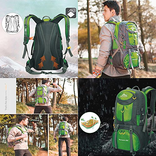 Rucksack Wasserdicht Faltbare leichte Wandern Packbar (Geschenk-1x Multifunktions-Taschenlampe) Grün