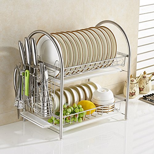 AWADUO 2 Tier Küchenschrank Dish Organizer Lagerung Ständer Halter mit Wäscheständer Ständer Halter, Messerhalter, Haken, Stäbchen Korb - 304 Edelstahl