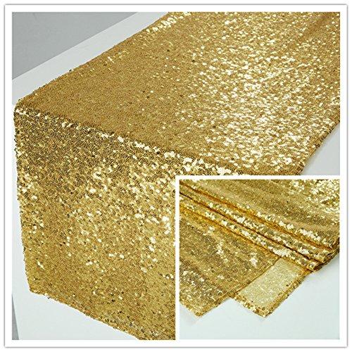Zdada Pailletten-Tischläufer für Hochzeit, Party, Bankett, rechteckig und runder Tisch 12x120inch Gold