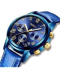 Herren Uhren Leder Männer Chronograph Wasserdicht Leuchtende Luxus-Sportuhr Datums Kalender Multifunktional Analog Quarz-Armbanduhr Geschäfts-Kleid beiläufige Uhren für Männer Blau