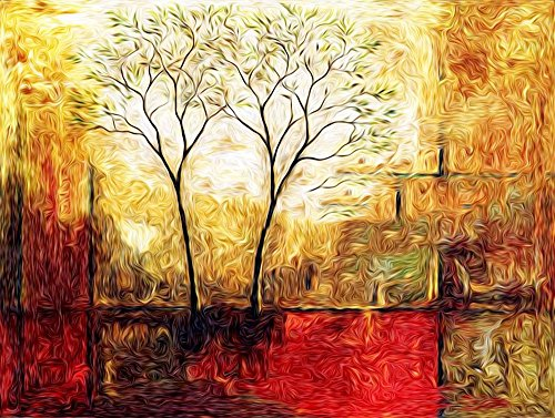 Faim Paintings Modern Art Twin Trees Canvas Print 33x24 Frameless