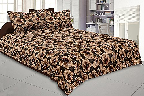 Kuber Industries 180 TC Cotton Double Bedsheet with Two Pillow Covers -...