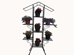 Cappl Assembled Iron 7 Pot Tiles Pot Stand 49 Inch Tall (Black)
