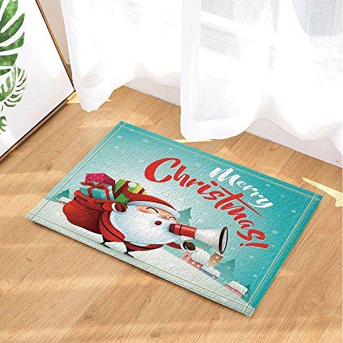gohebe Weihnachten Snow Decor Cartoon Santa Claus mit Lautsprecher geben Geschenk zu Kinder Bad Teppiche rutschhemmend Fußmatte Boden Eingänge Innen vorne Fußmatte Kinder Badematte 39,9x 59,9cm Badezimmer Zubehör