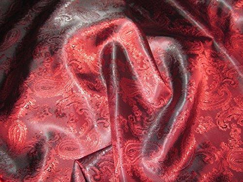 Burgund Paisley Stoff Superior Qualität Jacke & Kleid Futter Material 150cm £ 4.99m - Rot, Paisley-stoff