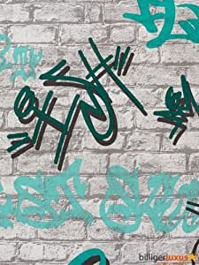 Tapete young spirit mauer steine tapete grau t kis 05601 30 p s baumarkt - Graffiti tapete jugendzimmer ...