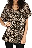 Womens Oversized Fit Loose Baggy Short Sleeve V-Neck Batwing Top T-Shirt UK8-24 (16/18, Brown-Leopard Print)