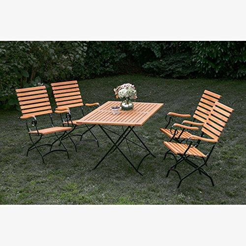 Schlossgarten Gartenmöbel Sitzgruppe MECINA-29 Eukalyptus geölt, Flachtstahl graphit, 4 Sessel mit hoher Lehne, 120x80cm Klapptisch