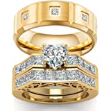 wedding ring set Two Rings His Hers Couples Rings Women's 10k Yellow Gold Filled White CZ Wedding Engagement Ring Bridal Sets