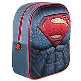 Mochila 3D Infantil de Superman DC Comic con Licencia Oficial/Mochila Infantil Niño Superman, Color Azul...
