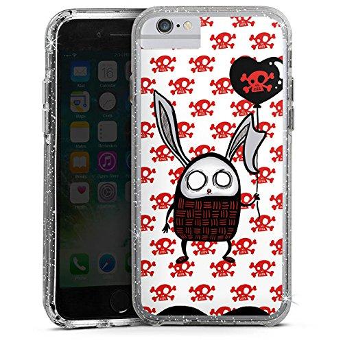 Apple iPhone 8 Bumper Hülle Bumper Case Glitzer Hülle Hase Heart Herz Bumper Case Glitzer silber