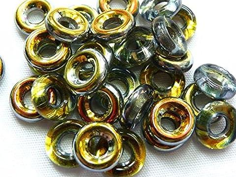 14g (40) x 10(mm) Large trou Rondelles Link connecteur Spacer Verre O Tchèque Perles pour cuir–Métal revêtu Cristal–W040