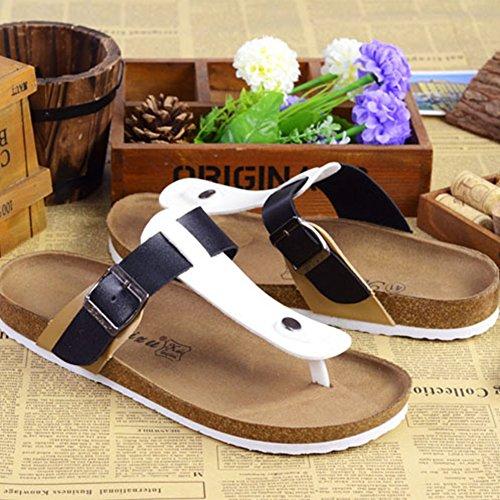 Unisex-Erwachsene Zehentrenner - Sandalen, Pantoletten mit Korkfußbett Weiß Schwarz Aprikose