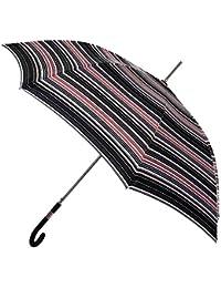 Paraguas Mujer Largo con Estampado en Negro y Rojo. Paraguas Vogue. Rayas