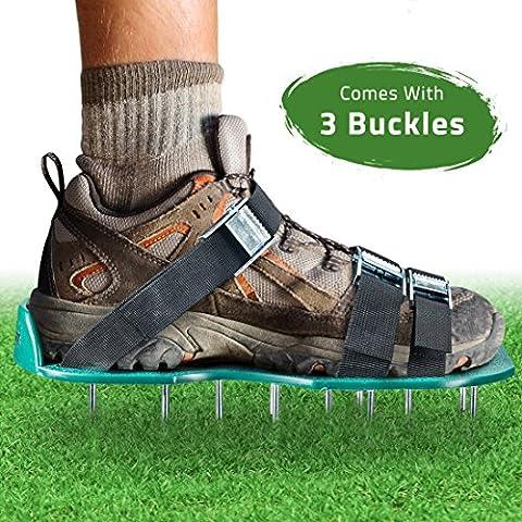 Aireador de césped–Zapatos de pinchos para airear el césped del suelo con eficacia–con 3correas ajustables con hebillas metálicas–tamaño Universal para todos–para un jardín o patio más verde y más