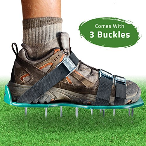 Lawn Aerator Spike Shoes – For Effectively Aerating Lawn Soil – Comes with 3 Adjustable Straps with Metallic Buckles – Universal Size that Fits all – For a Greener and Healthier Garden or Yard. Test