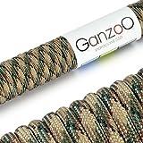 Paracord 550 Seil, 15 Meter, für Armband, Knüpfen von Hundeleine oder Hunde-Halsband zum selber machen / Seil mit 4mm Stärke / Mehrzweck-Seil / Survival-Seil / Parachute Cord belastbar bis 250kg (550lbs), Farbe: beige, grün 3, Marke Ganzoo