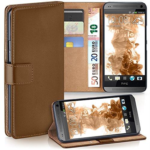 moex HTC One Mini | Hülle Braun mit Karten-Fach 360° Book Klapp-Hülle Handytasche Kunst-Leder Handyhülle für HTC One Mini M4 Case Flip Cover Schutzhülle Tasche