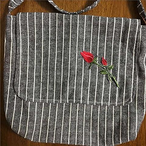 Handgefertigt Streifen Baumwolle Leinen Klappe Messenger Tasche bestickt Blumen Applikation schwarz