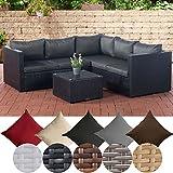 CLP Poly-Rattan Lounge-Set Liberi l Garten-Set mit 5 Sitzplätzen l Garnitur mit Aluminium-Gestell l Komplett-Set bestehend aus: 3er Sofa + 2er Sofa + Tisch Rattan Farbe schwarz, Bezugfarbe: Anthrazit