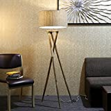 Craftter Textured Khadi Fabric Shade Wooden Cross Tripod Floor Lamp Decorative Standing Light