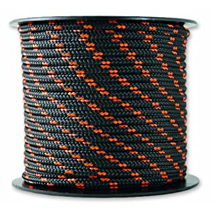 Chapuis MO325N Driza de poliéster – 200 kg – Diámetro 3 mm – Largo 25 m – Negro/naranja