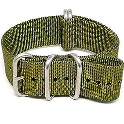 DaLuca Ballistic Nylon NATO Watch Strap - Olive (Matte Buckle) : 24mm