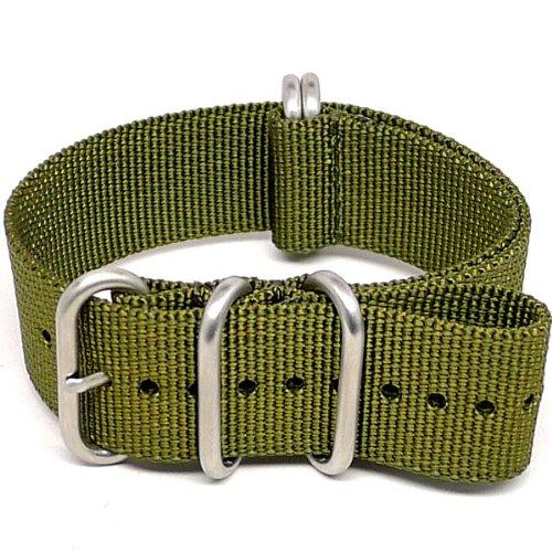 daluca-ballistic-nylon-nato-watch-strap-olive-matte-buckle-24mm
