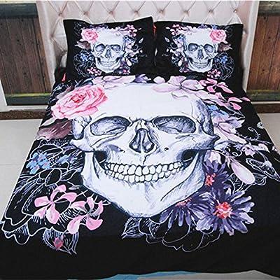Funky Gothic Skulls Motif Duvet Quilt Cover & Pillowcase Bedding Set - inexpensive UK light store.