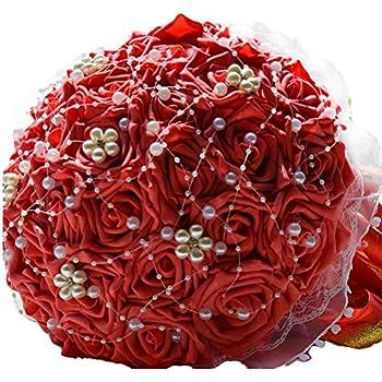 Beige + helles Weinrot 21 cm Pongnas Brautstrau/ß romantische rote und wei/ße Rose Crystal Bouquet Bride Brautjungfern-Hochzeits-Perlen-Blumenstrau/ß-Blumen-k/ünstliche gef/älschte Blume