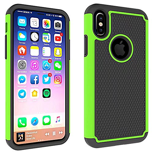 iPhone X Hülle, Lantier Shock Absorption Slim Fit Scratch Resistant Heavy Duty Hybrid Hard Soft Silicone Dual Layer Armor Defender Anti-Drop Rugged Ball Protective Hülle Cover für Apple iPhone X Grün