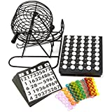 Crystals Traditional Bingo Ball Wire Cage Wheel Lotto Game Set with Set of Card Marker Ticket by