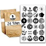 Papierdrachen Adventskalender Set - 24 braune Papiertüten und 24 schwarz-weiße Zahlenaufkleber - zum selber machen und befüllen - Mini Set 4