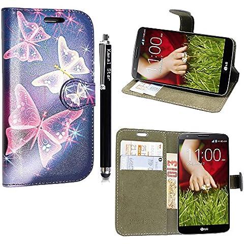 Kamal Star® LG Joy H220 PU Leather Cuero con Tarjeta de Crédito Slots Funda Wallet Carcasa Cover + Stylus (Blue Butterfly Book)