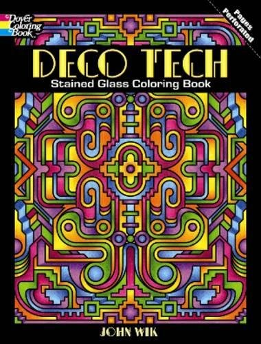 Deco Tech Stained Glass Coloring Book (Dover Coloring Books) -