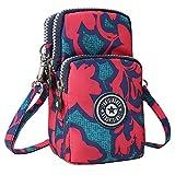 Wocharm Ladies Girls Nylon Design Small Crossbody Shoulder Bag Wristlet Handbags (Red Maple Leaf)