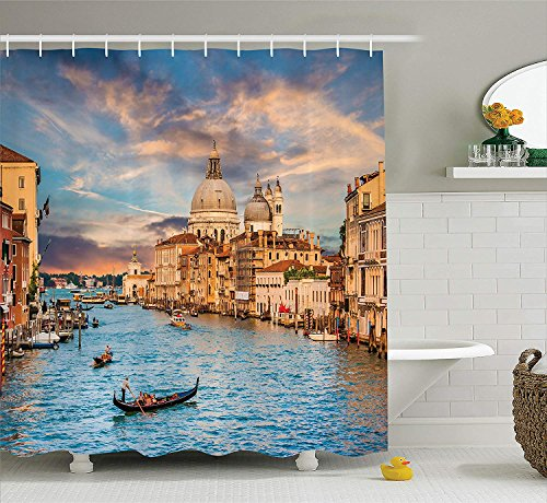 Wanderlust Decor Collection, Traditional Gondola on Famous Grand Canal with Basilica Di Santa Maria Della Salute Picture, Polyester Fabric Bathroom Shower Curtain, 72x72 inches Extra Long, Blue