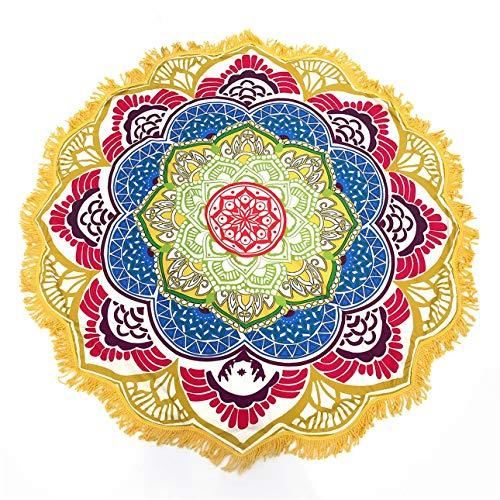 Ballylelly Serviette de Plage Ronde à Motif de Fleurs de Gland Tapis de Pique-Nique Yoga Circulaire 147 * 147CM
