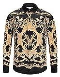 PIZOFF Herren barock Palace Hemden - Luxus Still Fashion Langarm Hemd Tops mit golden floral Druckmuster Hund Y1792-81-S