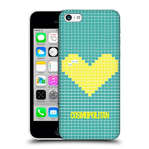 Official Cosmopolitan Pink On Sky Blue Pixel Heart Lovey Hard Back Case for Apple iPhone X Yellow On Teal