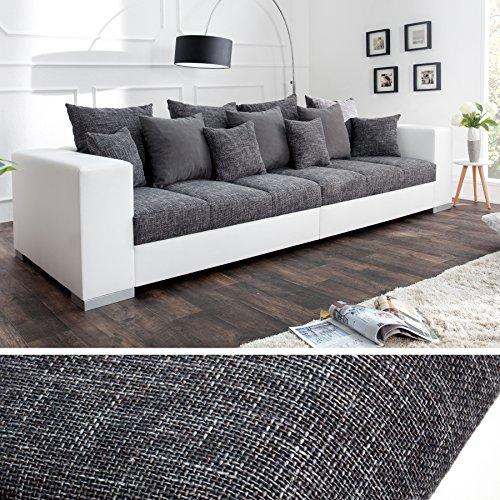 Design XXL Sofa BIG SOFA ISLAND in weiß grau charcoal Strukturstoff inkl. Kissen - 2