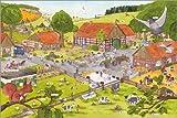 Poster 120 x 80 cm: Lachen und Lernen Wimmelbild: auf Dem Land von Katherina Lindenblatt - Hochwertiger Kunstdruck, Neues Kunstposter