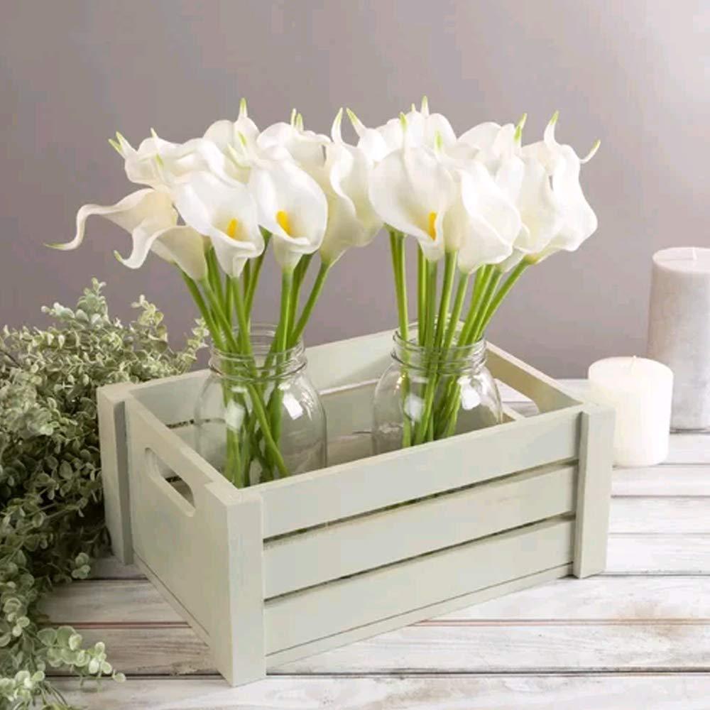 Huaesin 20pcs Flores Artificiales Látex Calla Lily Nupcial Flores De Plastico Lirios Blancos Artificiales Callas Tacto Real Ramo De Flores Artificial