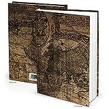Notizbuch Tagebuch vintage klein DIN A5 ALTE WELT BRAUN Reisetagebuch Blanko-BUCH leer maritim 136 Seiten Welt-Karte Globus Erde alt antik wirkend Nostalgie