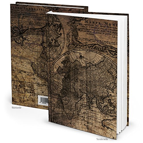 Vintage Blanko-Buch mit leeren weißen Seiten: DIN A5 Notizbuch ALTE WELT, leeres Geschenkbuch - Tagebuch, Reise-Tagebuch, Rezeptbuch, braun schwarz Erde Welt-Kugel Landkarte Globus Leere-seiten-buch