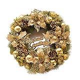belupai Bunte Luxus Weihnachtskr?nze Mit B?Gen Dekorationen Indoor Outdoor K¨¹nstliche Weihnachtskugeln Girlande F¨¹r Baum T¨¹r H?ngen (Gold)