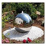 (994) Kugelbrunnen 'UNO' Wasserspiel aus poliertem Edelstahl Gartendekoration