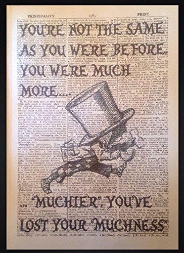 Mad Hatter Zitat Alice im Wunderland Print Vintage Wörterbuch Seite Picture Art (Ware Mad Hatter)
