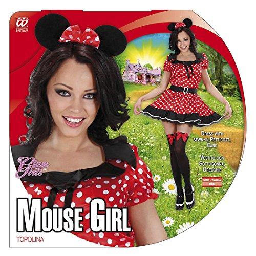 Amakando Damen Mauskostüm Mäuschen Pünktchen Kleid XL 46/48 Maus Damenkostüm Minnie Mouse Kostüm Faschingskostüme Frauen Märchen Tierkostüm Verkleidung Disney Mäusekostüm